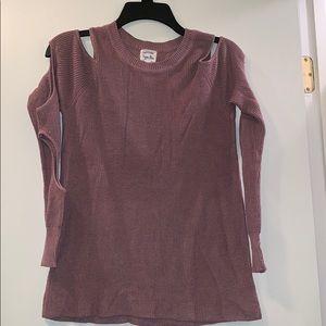Dusty rose cutout sleeve sweater